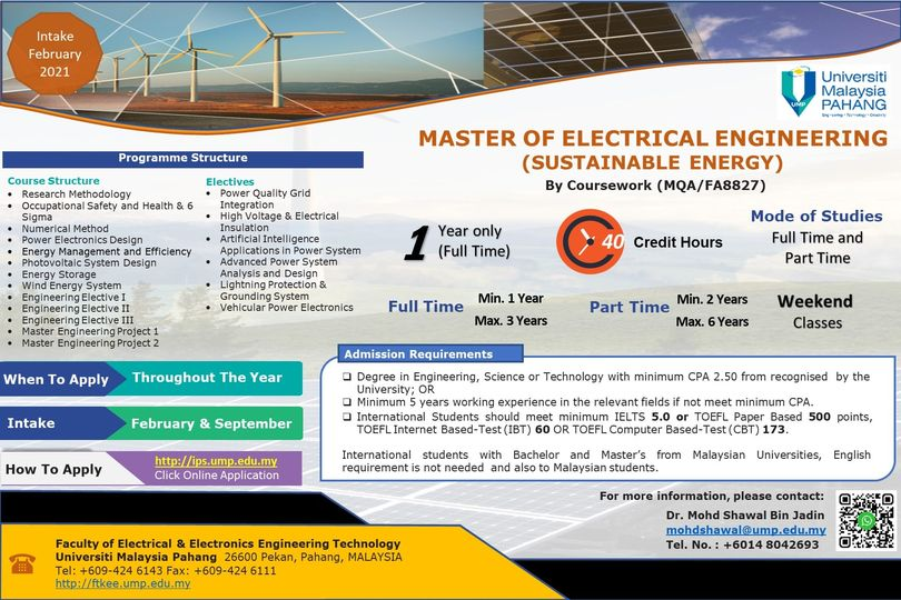 APPLICATION FOR MASTER OF ELECTRICAL ENGINEERING (SUSTAINABLE ENERGY): FEBRUARY 2021 INTAKE