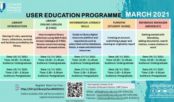 USER EDUCATION PROGRAMME FOR MARCH 2021