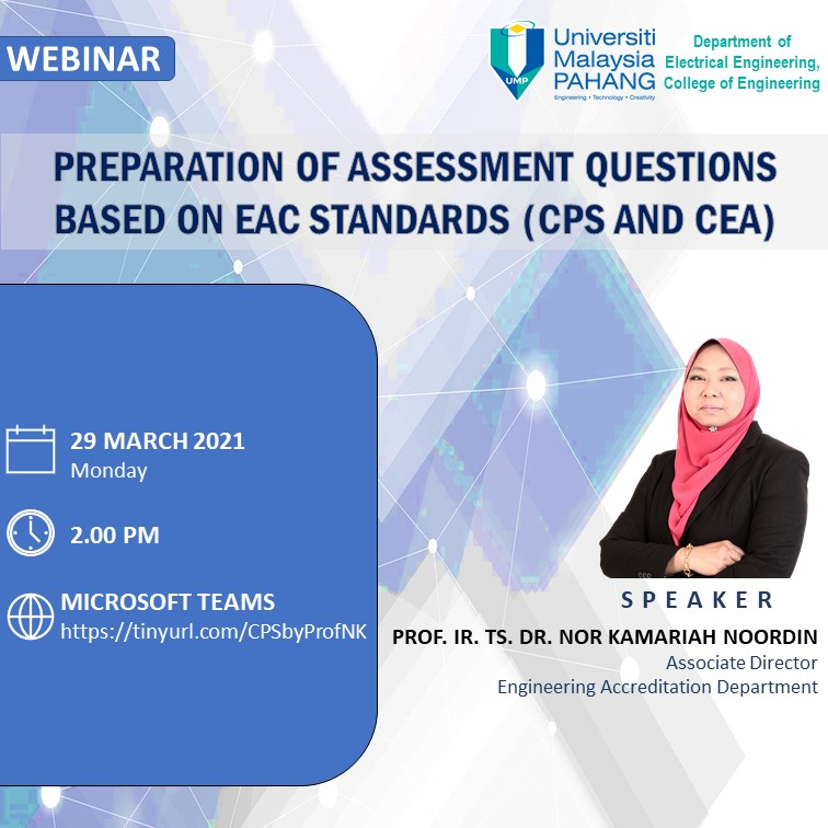 Preparation of Assessment Questions Based on EAC Standards 2020 by Prof. Ir. Ts. Nor Kamariah Noordin